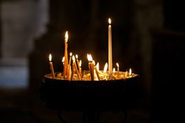 Picture of Picture of a Lit candles in the Church of the Holy Sepulchre