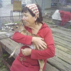 אישה מחבקת חיה - A woman hugging an animal
