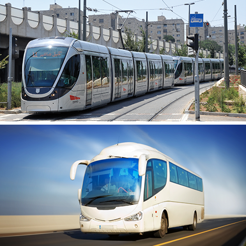 אוטובוס, רכבת קלה  - Bus, light rail