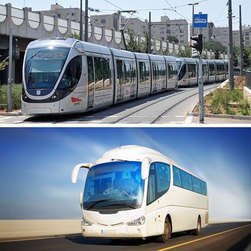 רכבת קלה, אוטובוס  - Light rail, Bus