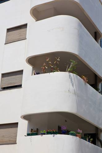 Bauhaus building balconies with flowers