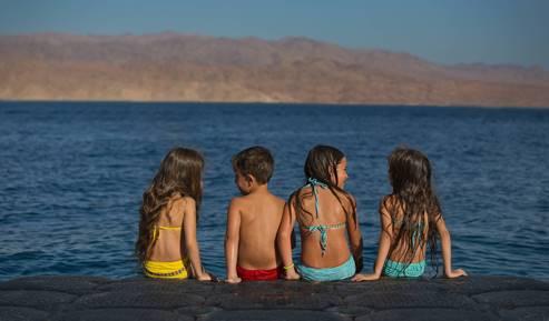 Children at the Almog beach, Eilat