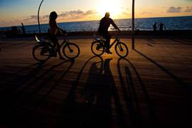 Biking on the Tel Aviv port promenade
