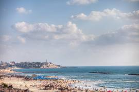 A Tel Aviv beach with Jaffa in the background