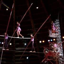 אמני קירקס צועדים על חבל - Circus Artists Walking The Tightrope