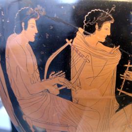 כד יווני עתיק מעוטר באיורים של מוסיקאים - An Ancient Greek Vase, Illustrated With Figures Of Musicians