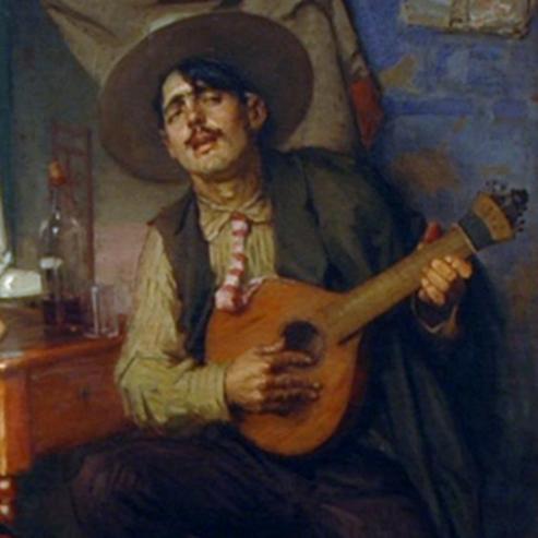 ציור של נגן פאדו פורטוגזי - A Painting Of A Portuguese Fado Musician