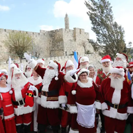 Picture of Santa and Mrs Claus come to Jerusalem