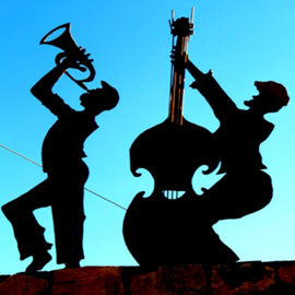 Painting Showing Silhouettes Of Musicians