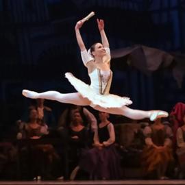 רקדנית בלט מרחפת באוויר בהופעה - A Ballet Dancer Jumps In The Air, During A Performance